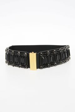 55 mm Elastic Belt with Nappa Leather Details & Strass