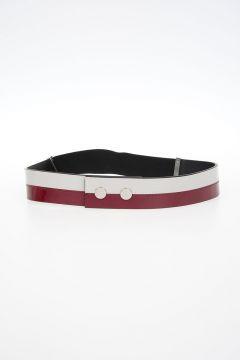 Cintura Elasticizzata con Dettagli in Vernice Bicolor 35 mm