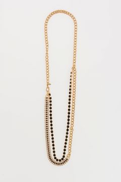 Golden Tone Necklace with Strass