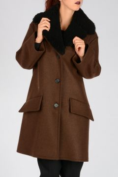 Virgin Wool Blend & Shearling Coat