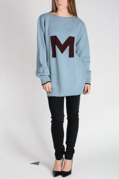 Intarsia Wool Crewneck Sweater