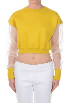 Cropped Sweatshirt with Sheer Sleeve