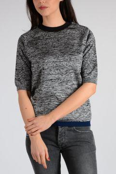 Virgin Wool Blend Short Sleeves Sweater