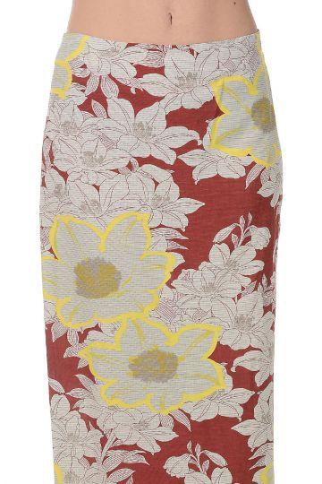 Viscose and Linen Printed Skirt