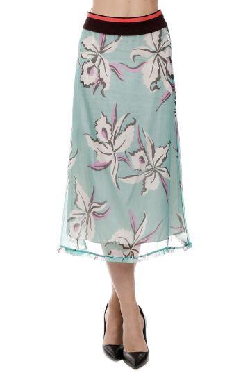 Silk Blend Skirt with Elastic Waist Band