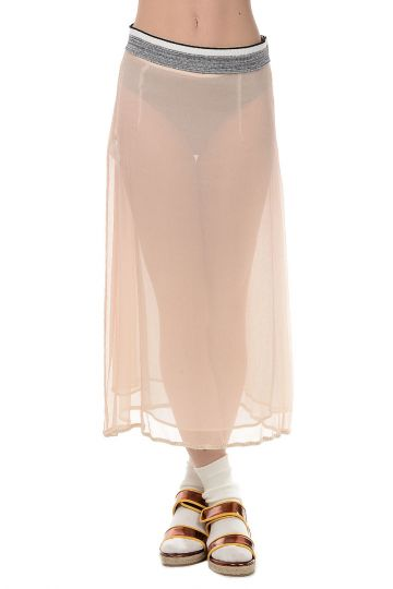 Silk and Cotton Straight Skirt