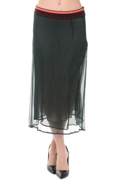 Cotton Silk Chiffon Midi Skirt