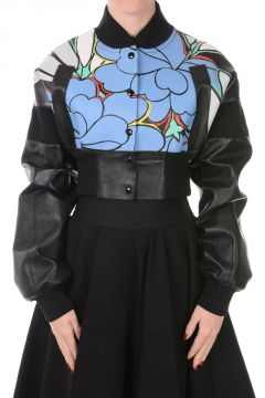 Cropped Leather Bomber Jacket