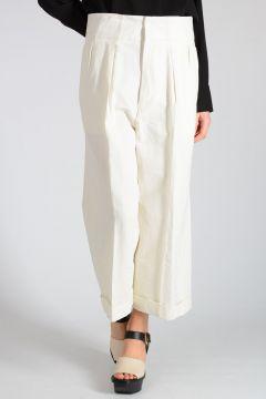 Linen Blend Wide Leg Capri Pants