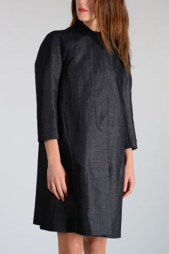 Trench in Denim Misto cotone e Lino