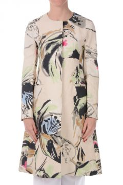 Cotton Linen Floral Print Coat