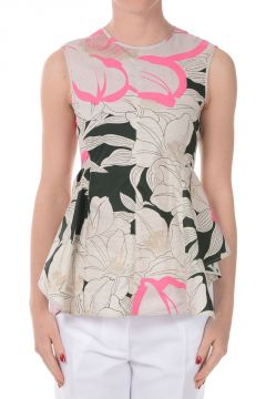 Floral Printed Cotton  Peplum Top
