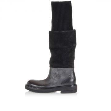 Leather Boot with Jersey Leg
