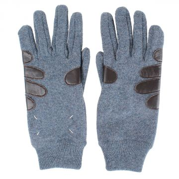 Leather Wool knitted Gloves