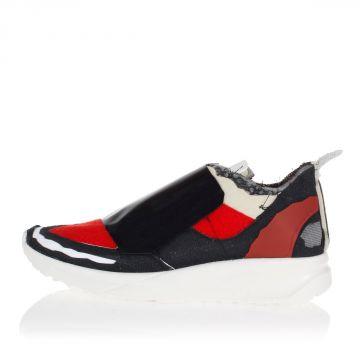 Sneakers in Pelle e Tessuto con Velcro