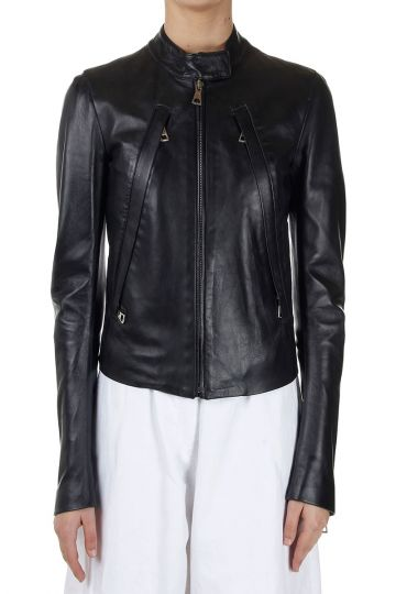 MM4 Zippered Leather Jacket