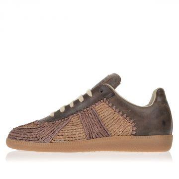 MM22 Sneakers con Pelle e Tessuto Intrecciato