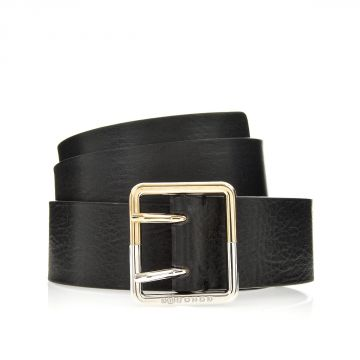 MM11 Leather Belt with Logo Printed Buckle