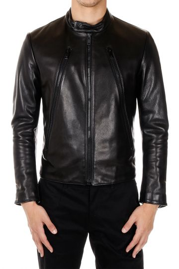 MM14 Padded Leather Biker Jacket