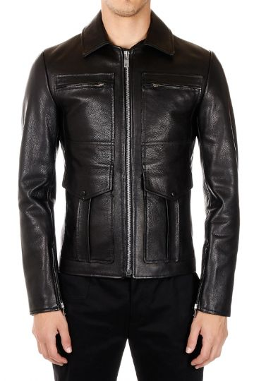 MM10 Grained Leather Jacket