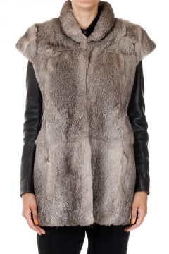 MM1 Fur Coat with Leather Handles