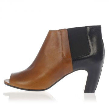 MM22 Leather Open Toe Ankle Boots Heel 5 cm