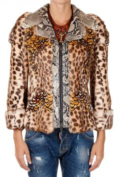 Rabbit Fur Jacket With Python Details