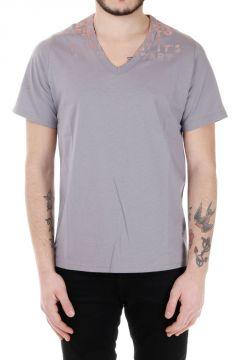 T-shirt a Scollo a V in Jersey di Cotone