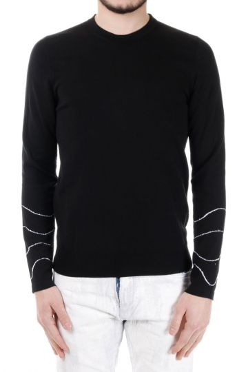 MM10 Sweater with Geometric Pattern on the Sleeves