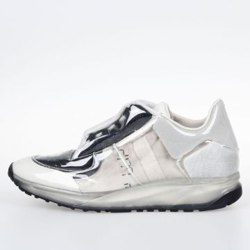 Leather and Fabric Sneakers with Transparent Covering