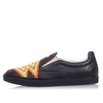 MM22 Embroidered Leather Slip on Sneakers