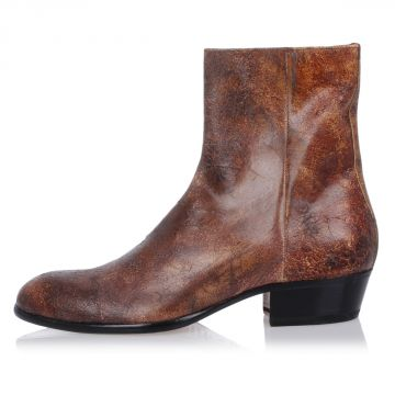 MM22 Leather Vintage Effect Ankle Boots