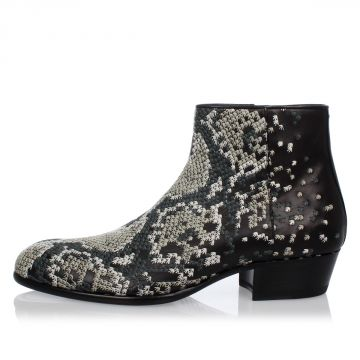 Leather Embroidered Booties
