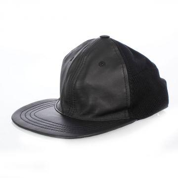 MM14 Cappello in Tessuto e Pelle