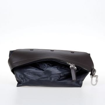 Fabric Pochette with Leather Details