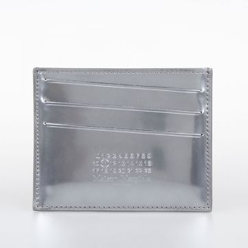 Silver Tone Leather Credit Card Wallet
