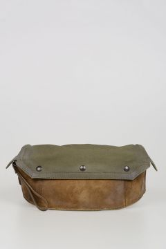 Suede and Canvas Pouch