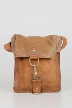 Canvas and Suede Crossbody Bag