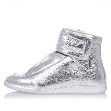 MM22 Silver Tone Leather high top Sneakers