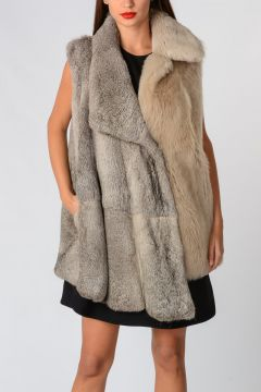 MM1 Sleeveless Rabbit Lamb Real Fur Jacket