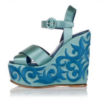 14 cm embroidered wedge sandals