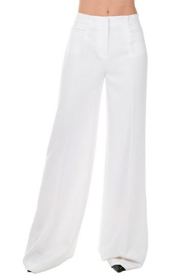 Pantaloni Wide Leg in Tessuto Stretch