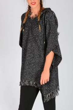 MICHAEL Fringed Knitted Poncho