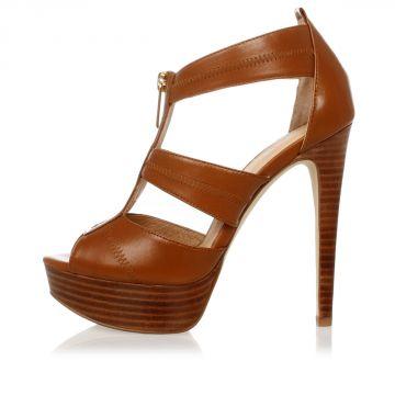 MICHAEL Leather BERKLEY PLATFORM Sandals 12 cm