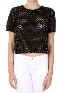 T-Shirt in Cotone Traforato con Inserti Gioiello