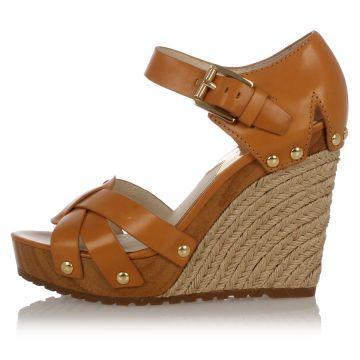 SOMERLY WEDGE Leather Sandal Heel 9 cm