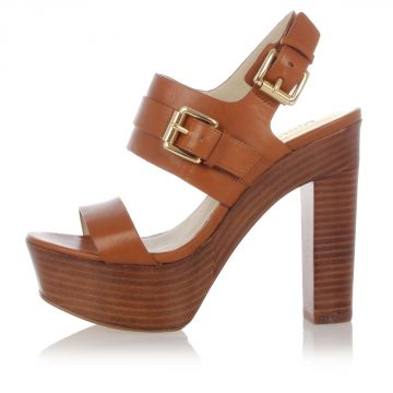 BEATRICE Leather Sandal with Plateau Heel 12 cm