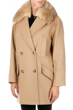 Wool blend Coat With Details Real coyote fur