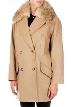 Cappotto in misto Lana con Dettaglio in Pelliccia di Coyote