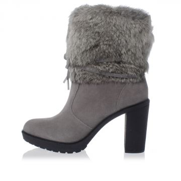 Leather Boots With Rabbit Fur